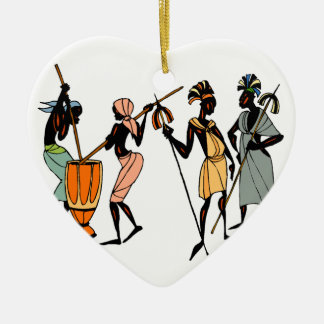 African Ethnic Native tribal design Ceramic Heart Decoration