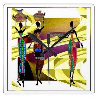 African Festiva Square Wall Clock