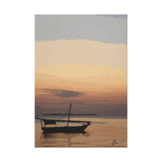 African fishing boat canvas print