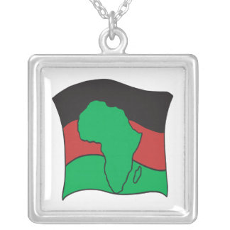 African Flag Square Pendant Necklace