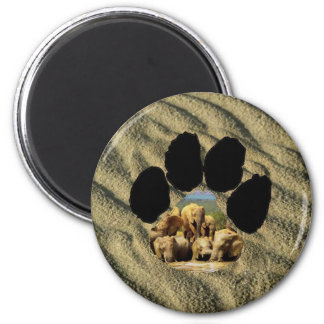 African Footprint elephants in water 6 Cm Round Magnet