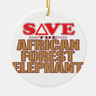 African For Elephant Save Round Ceramic Decoration