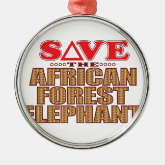 African For Elephant Save Silver-Colored Round Decoration