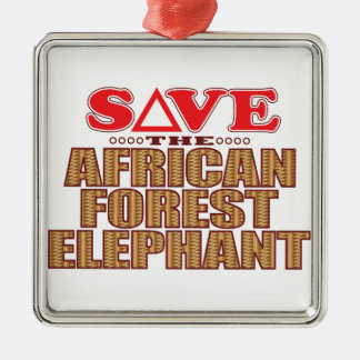 African For Elephant Save Silver-Colored Square Decoration