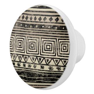 African Geometric Pattern Ceramic Knob