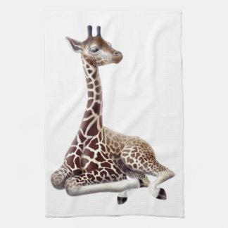 African Giraffe at Rest Kitchen Towel