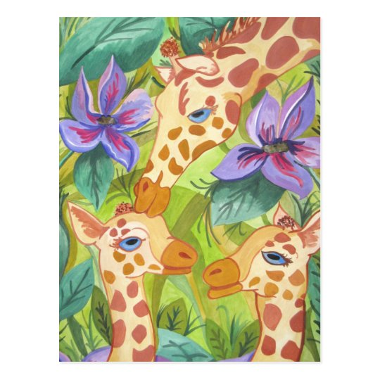African Giraffe Kisses (Kimberly Turnbull Art) Postcard