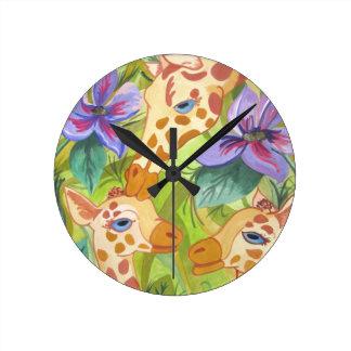 African Giraffe Kisses (Kimberly Turnbull Art) Round Clock