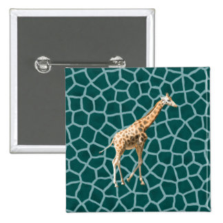 African Giraffe on Blue Camouflage 15 Cm Square Badge