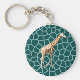 African Giraffe on Blue Camouflage Basic Round Button Key Ring