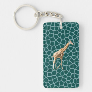 African Giraffe on Blue Camouflage Double-Sided Rectangular Acrylic Key Ring