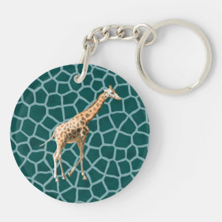 African Giraffe on Blue Camouflage Double-Sided Round Acrylic Keychain