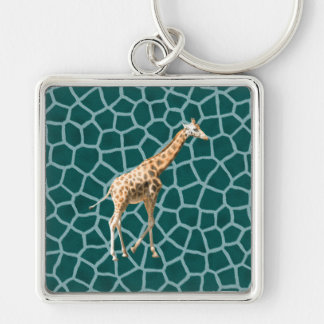 African Giraffe on Blue Camouflage Silver-Colored Square Keychain