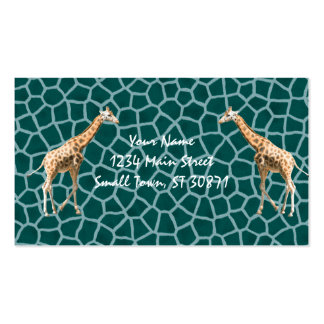 African Giraffe on Blue Camouflage Pack Of Standard Business Cards