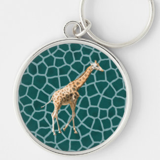 African Giraffe on Blue Camouflage Silver-Colored Round Key Ring