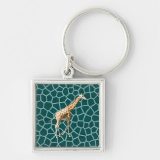 African Giraffe on Blue Camouflage Silver-Colored Square Key Ring