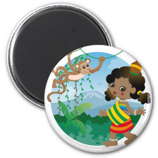 African girl 6 cm round magnet