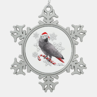 African Gray Snowflake Ornament