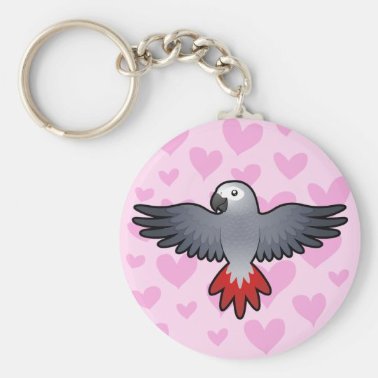 African Grey / Amazon / Parrot Love Basic Round Button Key Ring
