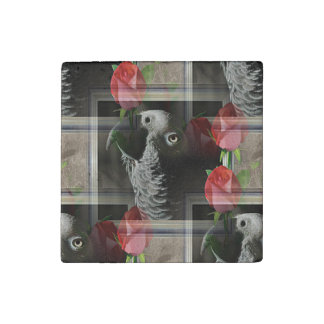 African Grey and Red Roses Stone Magnet