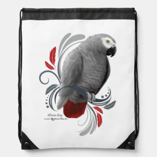 African Grey Drawstring Bag