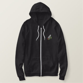 African Grey Embroidered Hoodie