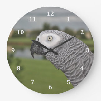 African Grey Lakeside Large Clock