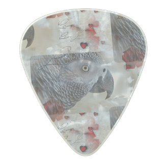 African Grey Love Letters Pearl Celluloid Guitar Pick