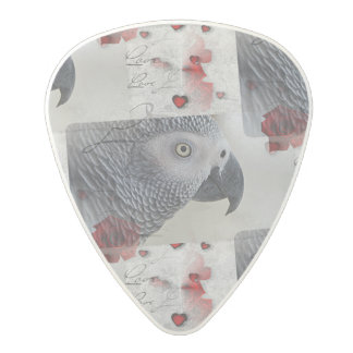 African Grey Love Letters Polycarbonate Guitar Pick
