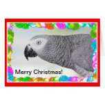 African Grey Merry Christmas Snow Greeting Card