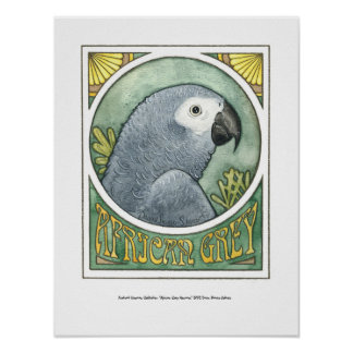 African Grey Nouveau Poster
