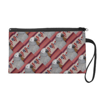 African Grey Parrot 4th of July Wristlet Purse