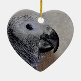 African Grey Parrot Ceramic Heart Decoration