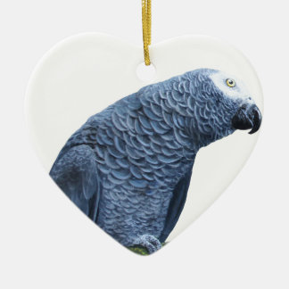 African Grey Parrot Ceramic Heart Decoration