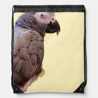 African Grey Parrot Drawstring Bag