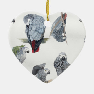 African Grey Parrot. Exclusive designed by Griff Ceramic Heart Decoration