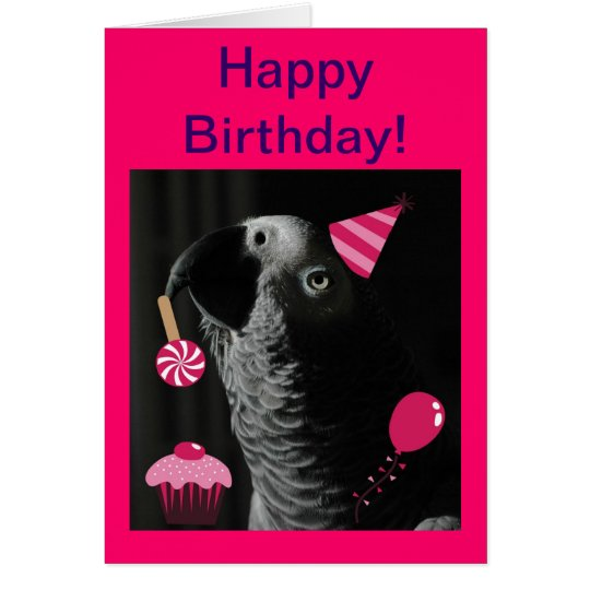 African Grey Parrot Happy Birthday Greeting Card