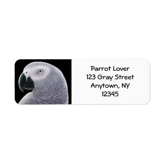 African Grey Parrot Head Label