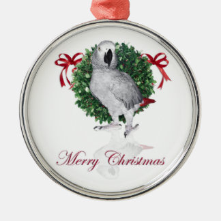 African Grey Parrot Holiday Gifts Silver-Colored Round Decoration