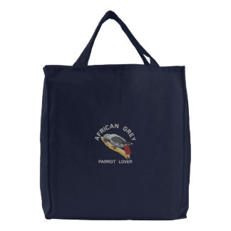 African Grey Parrot Lover Embroidered Bag
