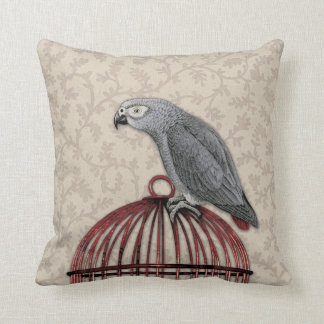African Grey Parrot on Red Birdcage Cushion
