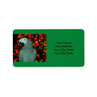 African Grey Parrot Painting with Christmas Tree Label