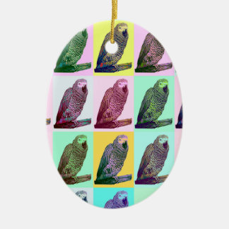 African Grey Parrot Pop Art Ceramic Oval Decoration