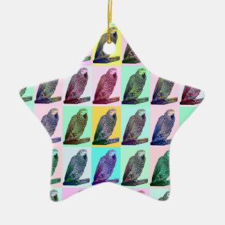 African Grey Parrot Pop Art Ceramic Star Decoration