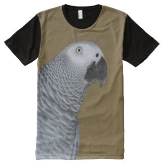 African Grey Parrot Profile All-Over Print T-Shirt