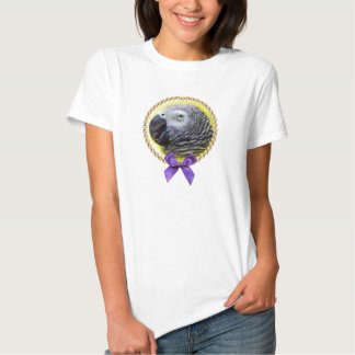 African grey parrot realistic painting tee shirt