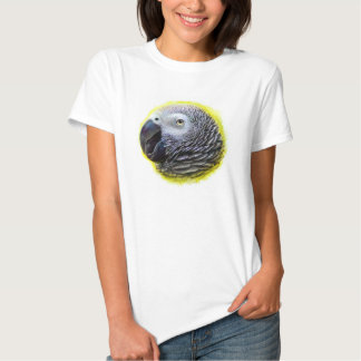 African grey parrot realistic painting tshirt