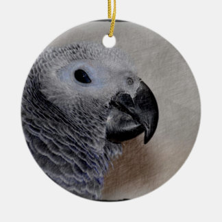 African Grey Parrot Round Ceramic Decoration