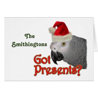 African Grey Parrot Santa Christmas Card