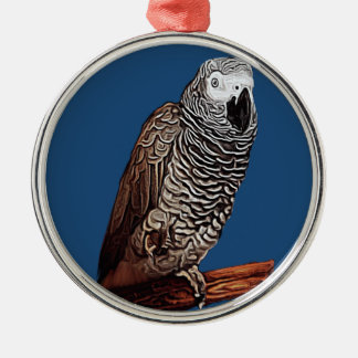 African Grey Parrot Silver-Colored Round Decoration